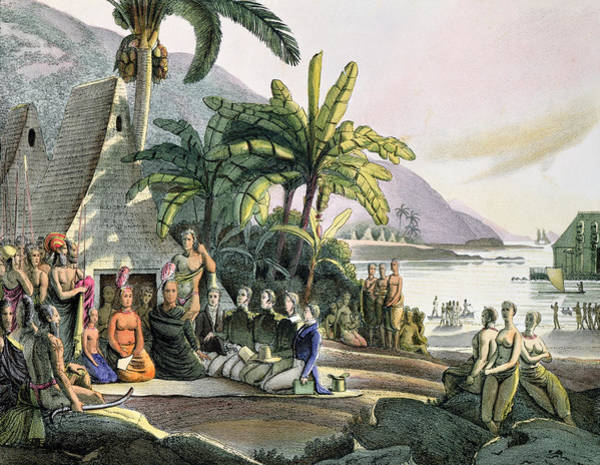 Polynesian Photograph - Meeting Between The Expedition Party Of Otto Von Kotzebue 1788-1846 And King Kamehameha I by Ludwig Choris