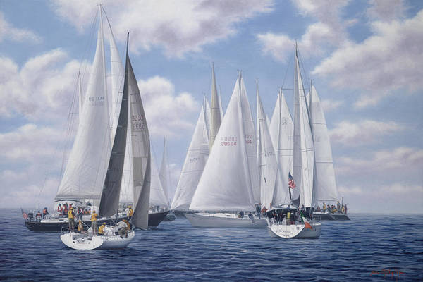 Mooring Painting - Meeting Of The Clan - Figawi Race by Julia O'Malley-Keyes