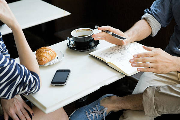Meeting Over Coffee Art Print by Image Source