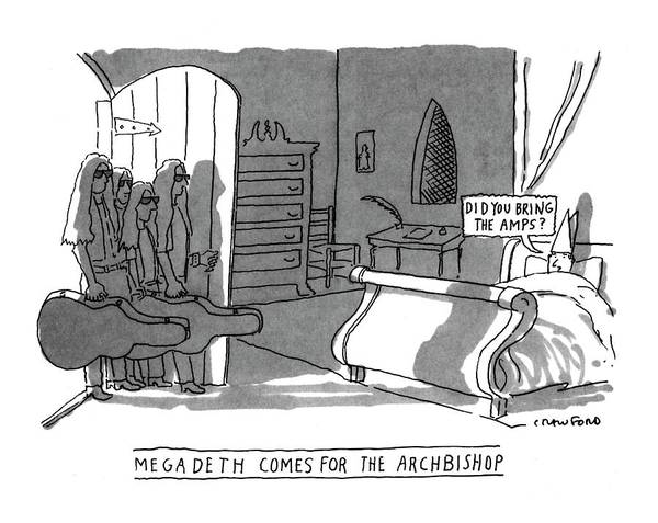Megadeth Wall Art - Drawing - Megadeath Comes For The Archbishop 'did You Bring by Michael Crawford