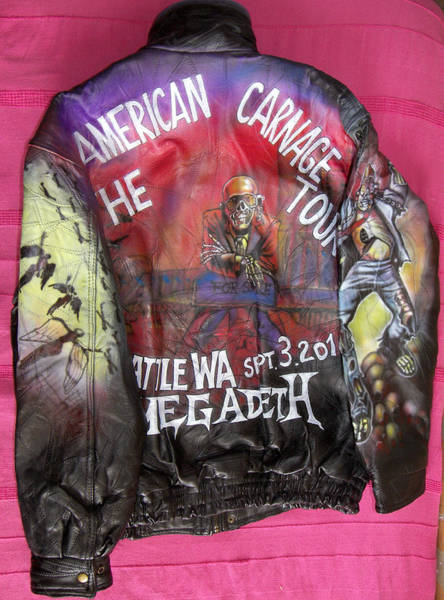 Megadeth Wall Art - Painting - Megadeth Airbrushed Leather Jacket by Danielle Vergne