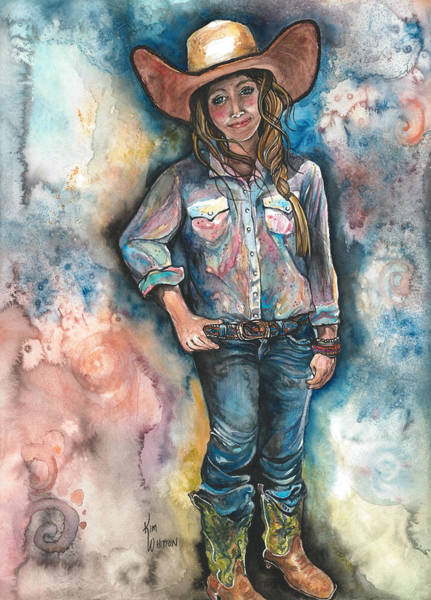 Roping Painting - Little Britches by Kim Whitton