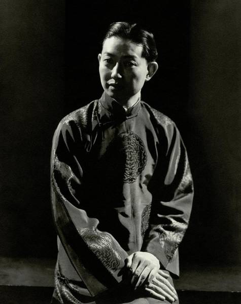 Actor Photograph - Mei Lanfang Wearing A Chinese Jacket by Edward Steichen