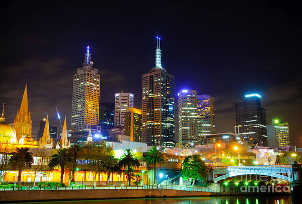 Melbourne City Skyline - Skyscapers And Lights Art Print
