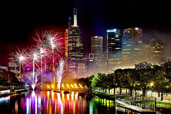Light Photograph - Melbourne Fireworks Spectacular by Az Jackson