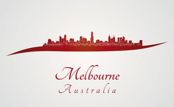 Melbourne Digital Art - Melbourne Skyline In Red by Pablo Romero