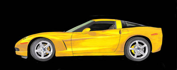 Wall Art - Painting - Mellow Yellow Corvette C 6 by Jack Pumphrey