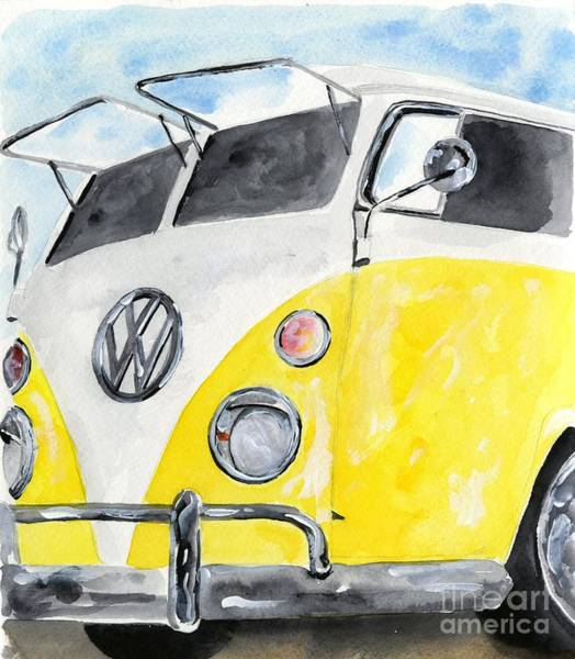 Wall Art - Painting - Mellow Yellow Surf Wagon by Sheryl Heatherly Hawkins