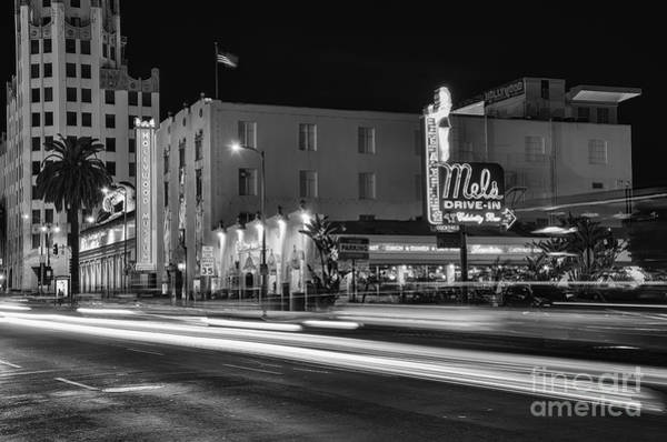 Photograph - Mel's Drive-in Black And White by Eddie Yerkish