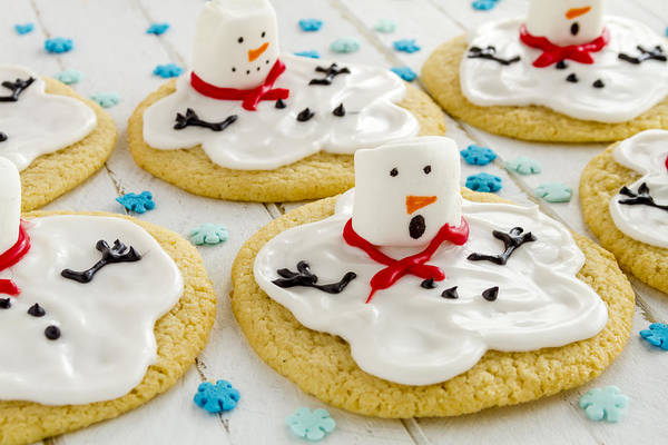 Photograph - Melting Snowman Cookies by Teri Virbickis