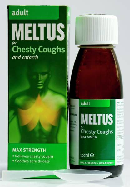Wall Art - Photograph - Meltus Adult Cough Syrup And Packaging by Ian Gowland/science Photo Library