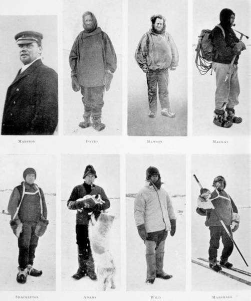 Deck Painting - Members Of The British Antarctic Expedition At The Start Of The Journey by English School