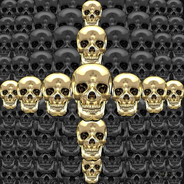 Digital Art - Memento Mori - Cross Of Gold Human Skulls On Black by Serge Averbukh