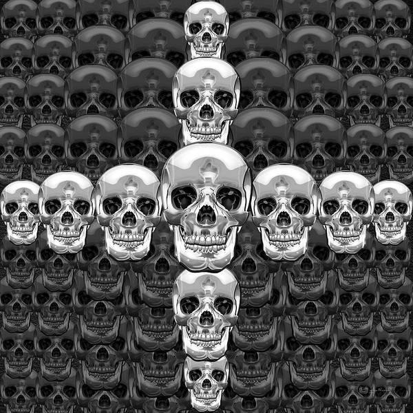 Digital Art - Memento Mori - Cross Of Silver Human Skull On Black  by Serge Averbukh