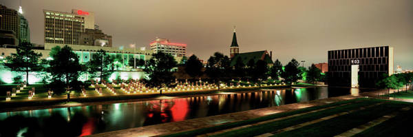 Wall Art - Photograph - Memorial Lit Up At Dusk, Oklahoma City by Panoramic Images