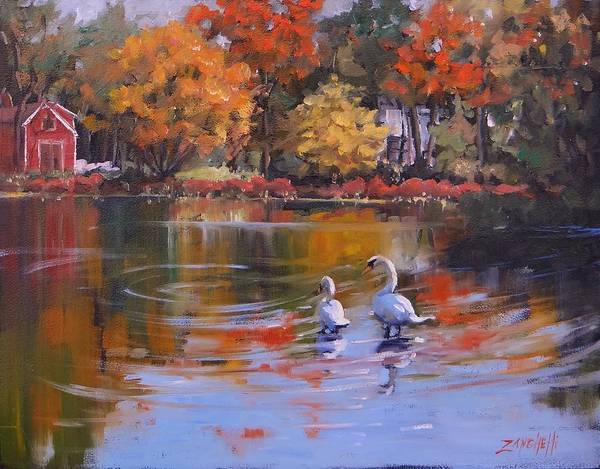 Wall Art - Painting - Memorial Pond by Laura Lee Zanghetti