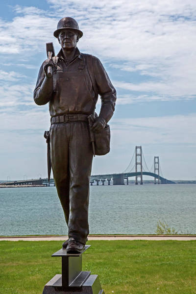 St Ignace Wall Art - Photograph - Memorial To Bridge Workers by Jim West