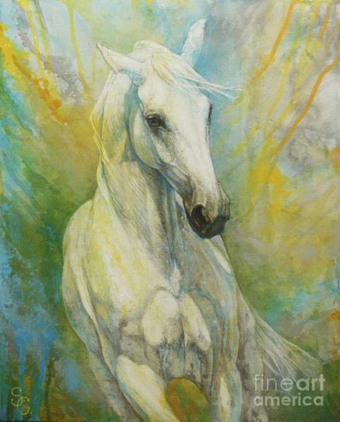 White Horse Wall Art - Painting - Memories Of A Grass Leaf by Silvana Gabudean Dobre