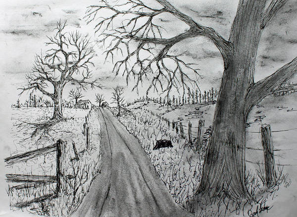 Homestead Drawing - Memory Road by Jack G  Brauer