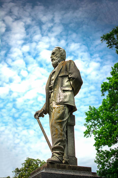 Gravestone Photograph - Memphis Elmwood Cemetery - Man With Cane by Jon Woodhams