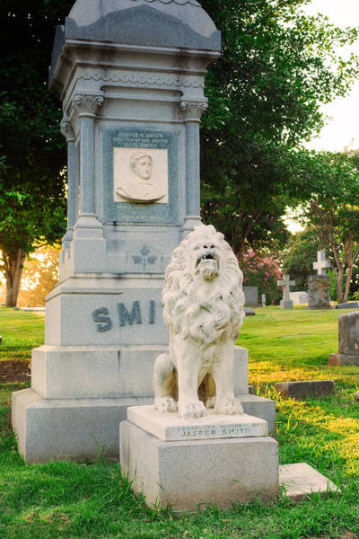 Lion Statue Photograph - Memphis Elmwood Cemetery - Guarding Jasper by Jon Woodhams