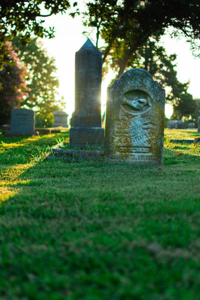 Cemetaries Wall Art - Photograph - Memphis Elmwood Cemetery - Backlit Grave Stones by Jon Woodhams