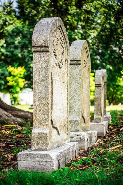 Cemetaries Wall Art - Photograph - Memphis Elmwood Cemetery Monument - Four In A Row by Jon Woodhams
