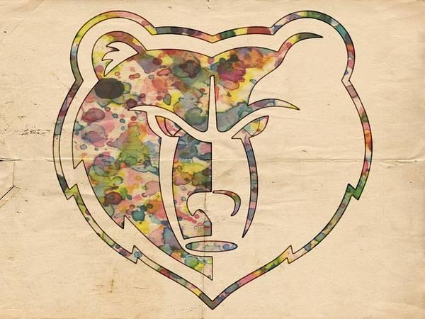 Memphis Grizzlies Wall Art - Painting - Memphis Grizzlies Logo Art by Florian Rodarte