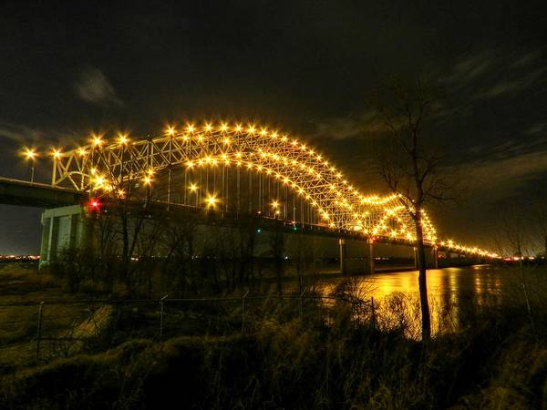 Photograph - Memphis - Hernando De Soto Bridge 003 by Lance Vaughn