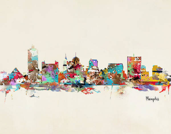 Wall Art - Painting - Memphis Tennessee Skyline by Bri Buckley
