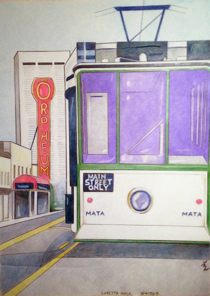 Drawing - Memphis Trolley by Loretta Nash