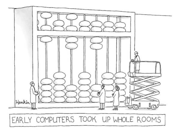 Drawing - Early Computers Took Up Whole Rooms by Charlie Hankin