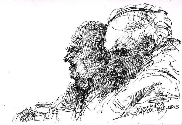 Wall Art - Drawing - Men At Cafe by Ylli Haruni