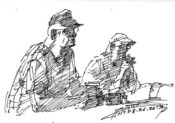 Wall Art - Drawing - Men At The Bar by Ylli Haruni