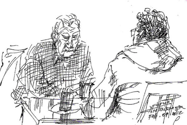Wall Art - Drawing - Men At The Cafe by Ylli Haruni