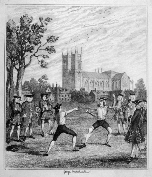 Wall Art - Drawing - Men Duelling With Swords by Mary Evans Picture Library