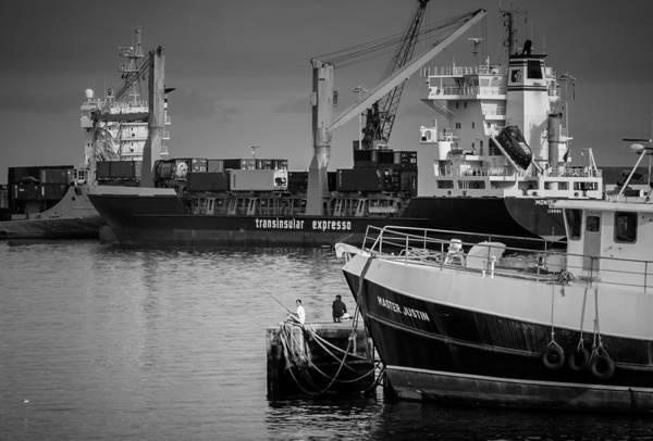 Photograph - Men Fishing At The Port by Eduardo Tavares