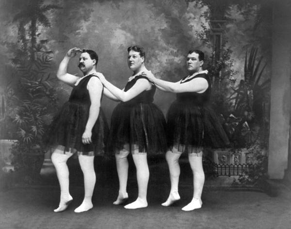 1900s Photograph - Men In Tights And Tutus by -