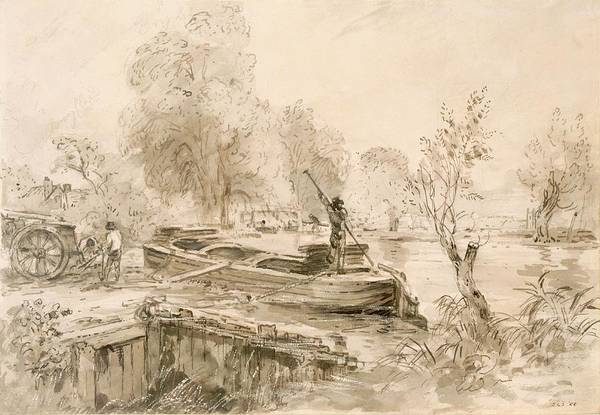 Cart Drawing - Men Loading A Barge On The Stour, 1827 by John Constable