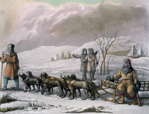 Hound Drawing - Men Of Kamchatska, With A Dog Sleigh by Italian School