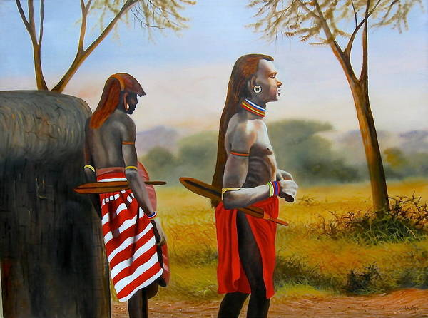 Painting - Men Of The Maasai by Wycliffe Ndwiga