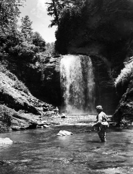 Trout Stream Photograph - Men Trout Fishing by Retro Images Archive