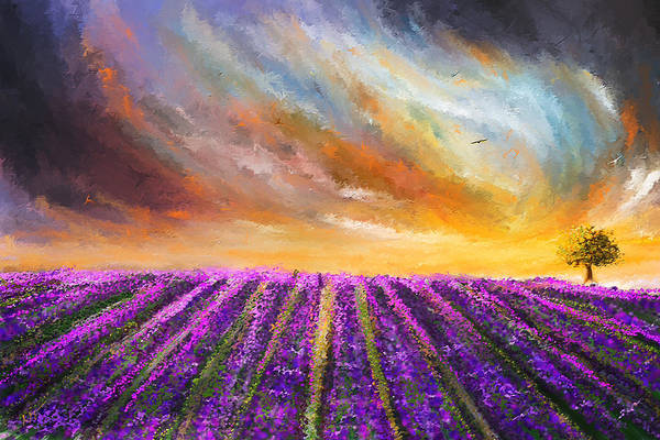 Painting - Menacing Beauty - Lavender Fields Paintings by Lourry Legarde