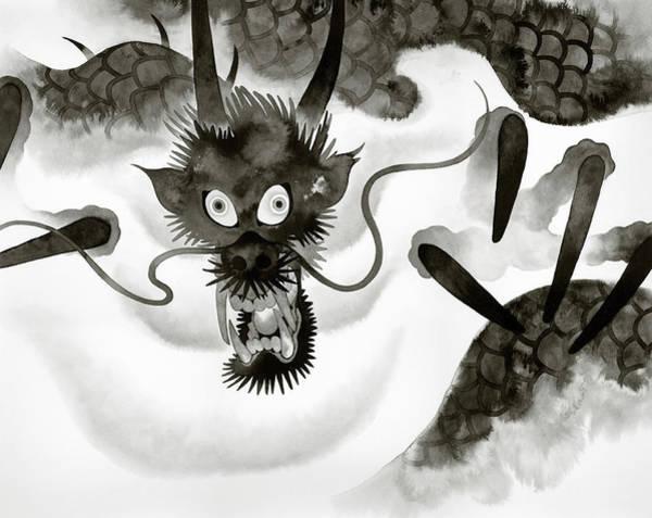 Phantasy Wall Art - Photograph - Menacing Dragon Emerging From Fog by Ikon Ikon Images