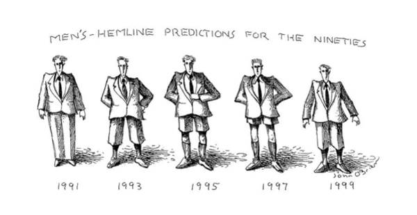Future Drawing - Men's-hemline Predictions For The Nineties by John O'Brien