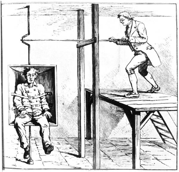 Wall Art - Photograph - Mental Patient Being Treated In A Gyrating Chair by Science Photo Library