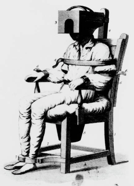 Restrain Photograph - Mental Patient Strapped Into A Restraining Chair by National Library Of Medicine/science Photo Library