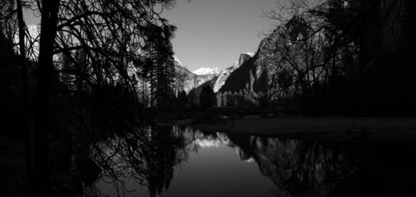 Photograph - Merced River Black And White Reflection by Scott McGuire