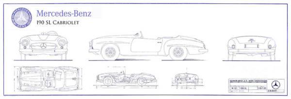 Cabriolet Photograph - Mercedes 190sl Cabriolet Blueprint by Jon Neidert