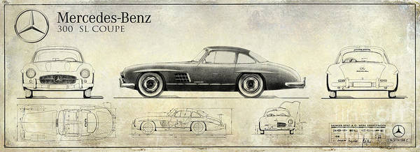 Mercedes Photograph - Mercedes 300sl Blueprint Drawing A by Jon Neidert